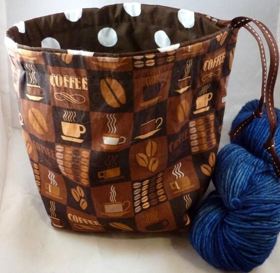Reversible Knitting Project Bag - Coffee and Polka dots