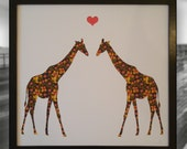 Giraffes In Love - Framed art picture, Two giraffes and a heart, 3D home décor. Ideal gift for engagement, wedding, anniversary & birthday.