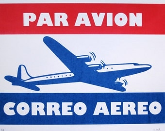 Par Avion / Air Mail Poster - limited edition screenprint