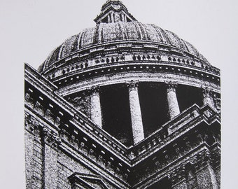 London : Wren Church - St Paul's Cathedral - limited edition screenprint