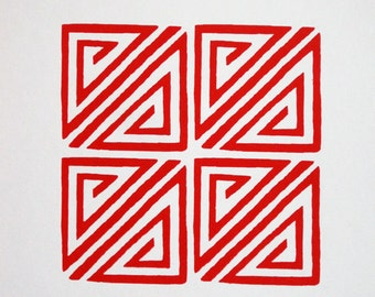 Chinese Geometric Design in Red - limited edition screenprint