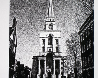 London : Spitalfields - Christ Church, Nicholas Hawksmoor - limited edition screenprint