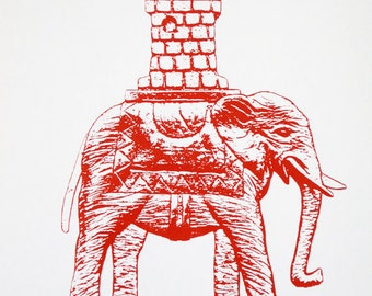 Elephant and Castle in Red (Dark Version) - limited edition screenprint