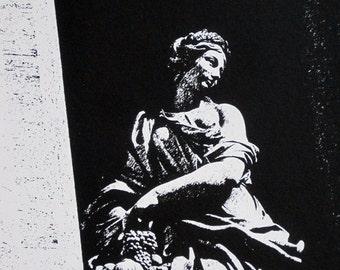 Rome : Trevi Fountain, Statue of Abundance - limited edition screenprint