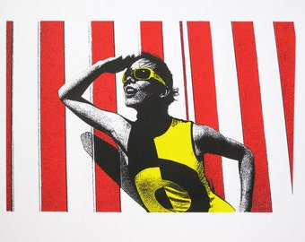 60's Girl at the Beach - limited edition screenprint