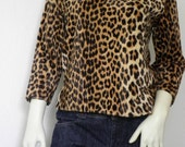 SALE 1960s Cheetah Print Furry 'Miss Finale' Pullover Sweater