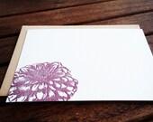 Letterpress Zinnia Flower Flat Notecards // Set of 6