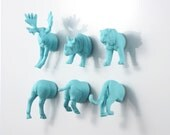 Safari meets Outback Animal Magnet Set - 6 piece set - Blue Tiger Rhinoceros & Moose Magnets - farm woman gift