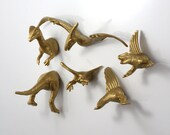 Dinosaur 6 pack Gold Magnets - Wedding Favor for Ooak wedding table gift steampunk