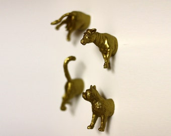 Farm Animal Magnets - 4 piece set -  Gold Cow and Cat Magnets (F4-1)