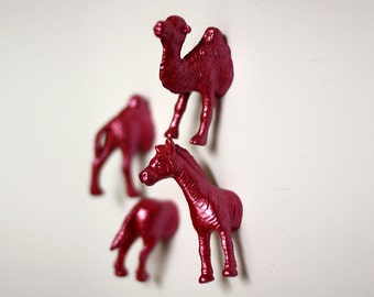 Safari Zoo Animal Magnets - 4 piece set -  Pink Pearlized Zebra and Camel Magnets (F4-3)
