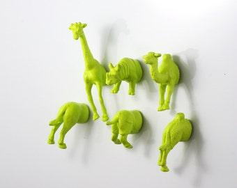 Green Magnets // Animal Magnet refrigerator magnets home & living // Giraffe Rhinocerous Camel// wild safari magnets  // chartreuse magnets