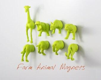 Apple Green MAGNETS: Giraffe - Tiger - Hippo - Rhino - 8 piece SAFARI magnet set