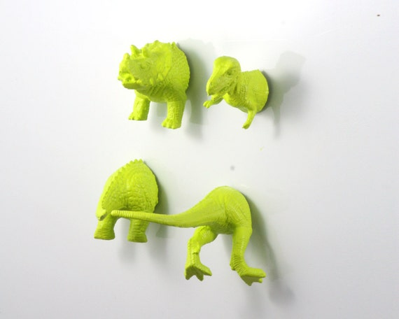 Green Dinosaur Magnets - 4 piece set in Apple Green - Humor office gift