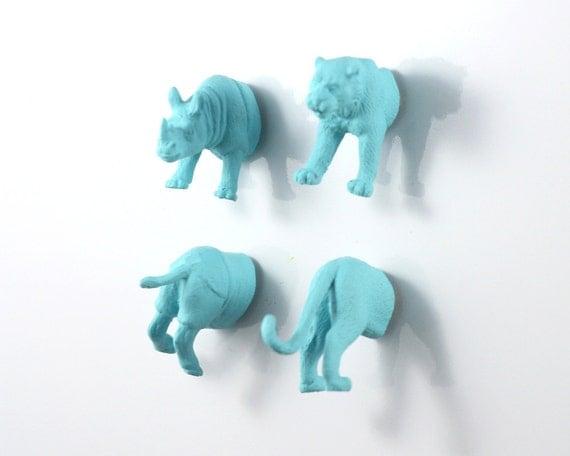 Safari Animal Magnet Set - 4 piece set -  Matte Blue Rhino and Tiger Magnets - teen gift
