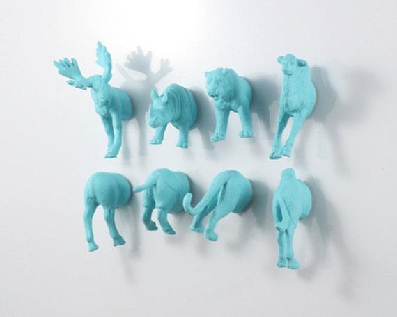 Huge Magnet Animal Set: Moose - Camel - Tiger - Rhino - 8 piece set - perfect for sibling gifts