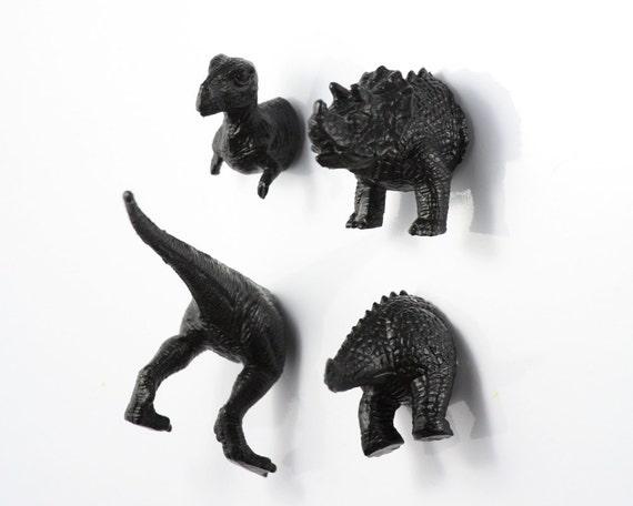 Extinct Dinosaur Magnet Set - 4 piece set -  Jet Black Dinosaurs - young boy gift