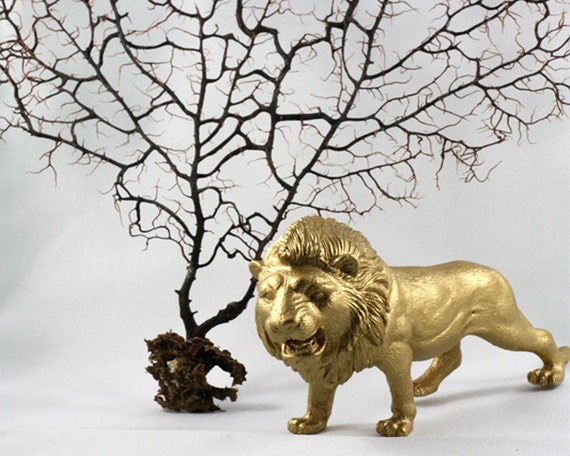 Large Lion Figurine painted Gold - perfect for a bookcase - desktop - or shelf