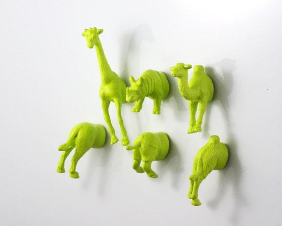 MAGNETS: Safari Jungle Animal - Giraffe - Rhino - Camel - 6 piece set -  Apple Green Bright Greenish yellow (Chartreuse) Set