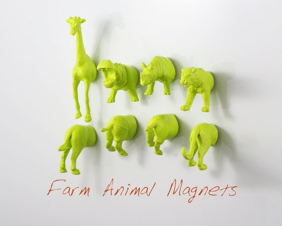 Chartreuse Jungle Magnets - 8 piece set in Apple Green - Party Favors