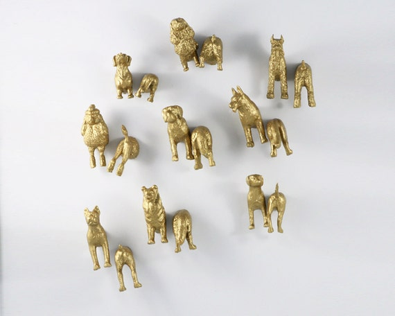 Large Dog Magnet Set - Multi dog gold magnets - 18 pieces (9 heads & 9 butts)