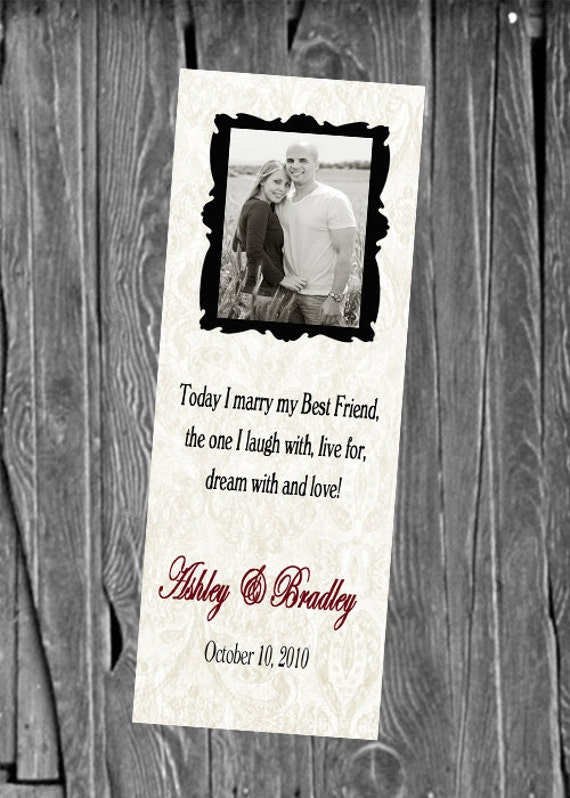 50, 100 or 150 Photo Bookmarks, Great Wedding Party Favors & Keepsake for your guests,  Any Color, Design BW17
