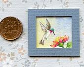 "OOAK Art Original Watercolor Miniature Dollhouse Painting"" Hummingbird "" 1.5/8th x 1.50 inches."