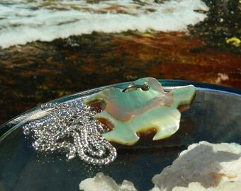 Honu ~ Hand Carved Sea Turtle Pendant, Abalone Shell, Necklace, Marine life, Beach, Ocean