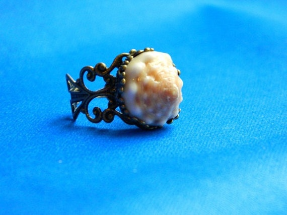 SALE- Hawaiian Cone Shell Antiqued Filigree Adjustable Ring