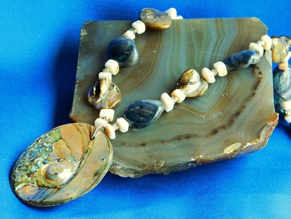 Blue and Green Mother of Pearl and Abalone Pendant Necklace