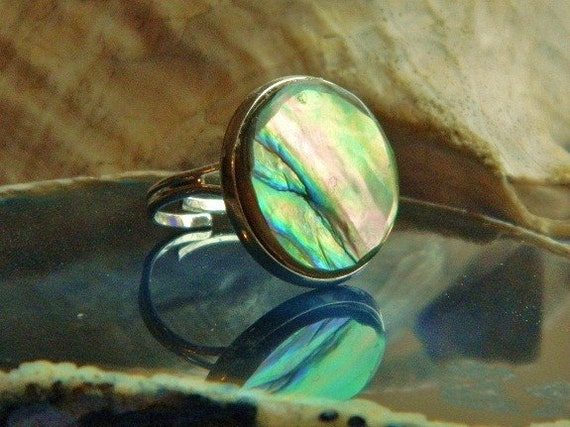 Round Abalone Silver Cocktail Ring