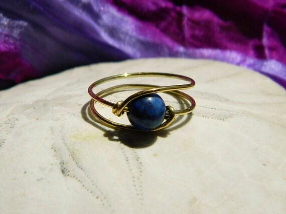 14K Gold Wire Lapis Lazuli Ring
