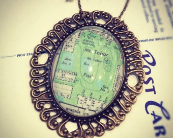 Mt. Tabor SE Portland Large Map Necklace