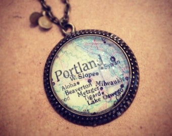 Long Portland Map Necklace