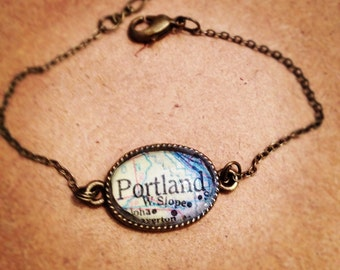 Dainty Portland Map Bracelet