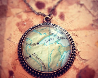 Custom Medium Map Necklace