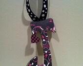 """6"""" Handmade Wooden letter """"J"""" - pink, black, gothic, skulls, girl"""