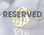 """Reserved for SHANADAD - 1.5"""" monogram necklace in 18k gold plated sterling silver - letters SDM"""