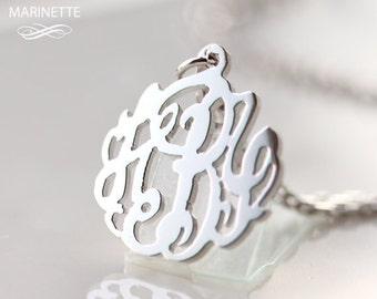 Sterling silver personalized mini monogram necklace - 5/8 inch - FedEx shipping