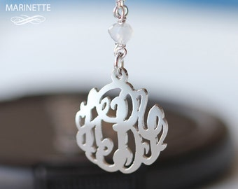 Monogram bracelet - Personalized sterling silver monogram with silver and Chalcedony chain - FedEx shipping
