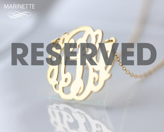"Reserved for Dara - 1.5"" monogram necklace in 18k gold plated sterling silver  with a 2mm pearl on each side - 18"" chain - Letters DHC"