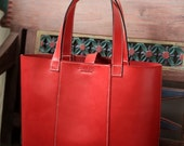 Red Leather Tote Bag. Fully Handmade. Suitable for office or outings