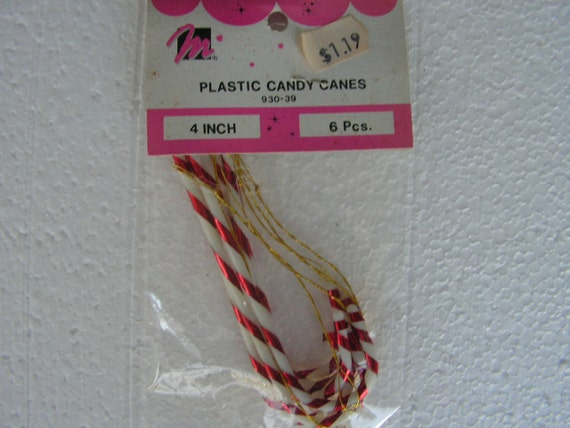 Vintage Candy Cane Ornaments Plastic Candy Canes