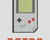 Retro Gameboy Cross Stitch Pattern (Printable PDF) - Immediate Download from Etsy - Vintage Geek / Game