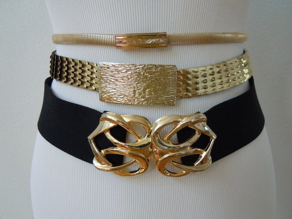 1980s Lot of 3 Stretch Belts: Skinny Goldtone, Fish Scale, Black/Gold / Disco, Glam / Size S-M