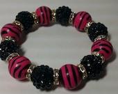 On Sale NAOMI - Pink & Black Zebra Print ball bead bracelet