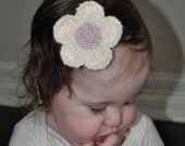 White Knitted Flower Bows