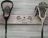 Sports Decor Back To School Colors  Lacrosse Stick Rack Player Custom Team Lax Stick Wall Hanger Personalized Team Colors Handpainted MTO