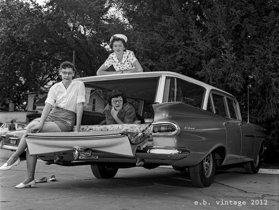 Vintage Photo 1959 Brookwood Wagon and Teen Girls B&W 9x12 photograph