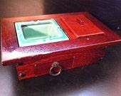 SALE! Red Wood and Ceramic Cigarette Box: Art Deco, Retro